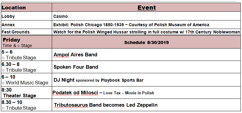 Taste of Polonia Festival - Friday Schedule
