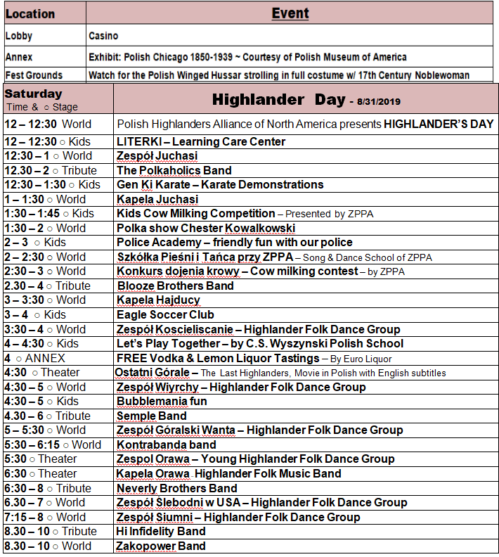 Taste of Polonia Schedule - Saturday