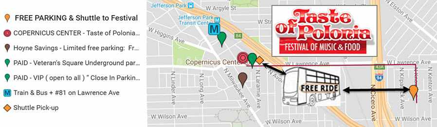 Taste of Polonia Festival parking map, ToP parking map